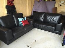 Black leather lounge 2+3 seater Ellenbrook Swan Area Preview