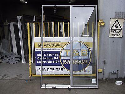 Aluminium Door Glazed Entry 2400H x 1620W (Item 3034/) Ultra Silver Gloss