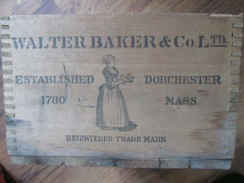 Antique Walter Baker & Co No 1 Chocolate Advertising Wooden Box Dorchester Mass