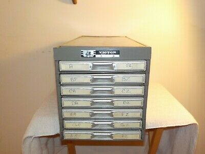 Vintage Victor 7 Drawer Card File Filing Cabinet Industrial File Cabinet