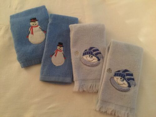 CHRISTMAS SNOWMAN TOWELS, 3 HAND & 1 FACE, PRETTY BLUES