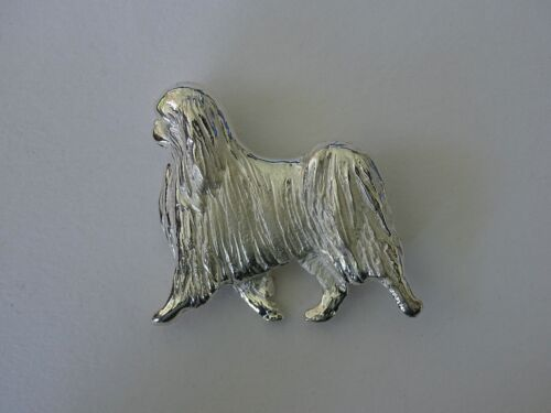 Large Sterling Silver Large Japanese Chin Moving Study Brooch