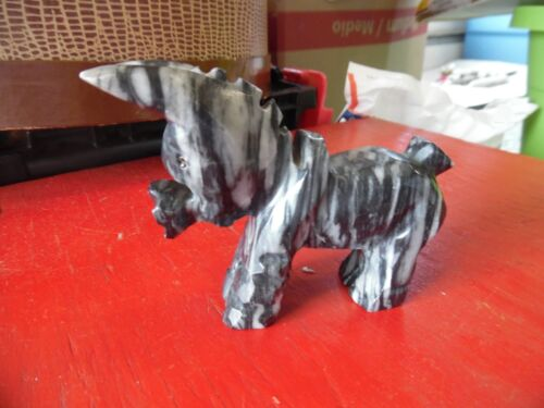 Vintage marble black & white donkey figure made in Mexico