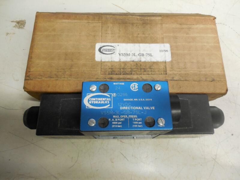 CONTINENTAL HYDRAULICS DIRECTION HYDRAULIC VALVE  VS5M-3L-GB-75L-J 24 Watt 12vdc