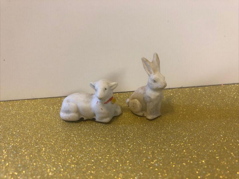 Tiny Vintage Bisque Easter Bunny Rabbit & Lamb Figurines Germany Miniature