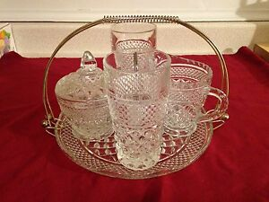 Vintage Diamond Pattern Pressed Glass