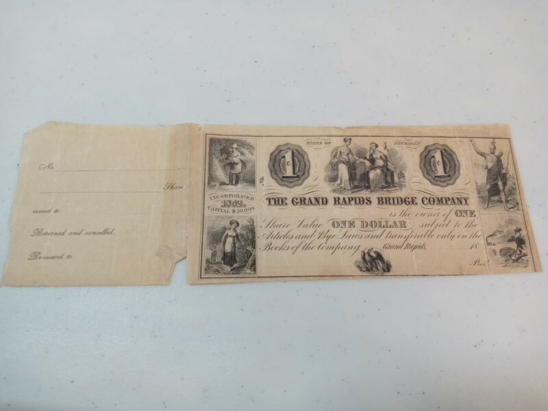 The Grand Rapids Bridge Company Michigan 1852 $1 Native Indian Engraved Note