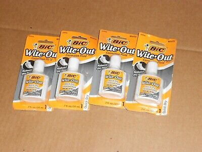 Bic Wite-out Correction Fluid Quick Dry Foam Brush .7ozwhite-lot Of 4-f22
