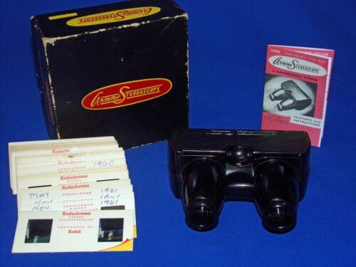 Vtg SERVICED 1950s Armme Stereoscope Stereoviewer Realist Format + Stereo Slides