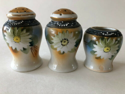 Antique Porcelain Salt Pepper Shakers Toothpicks Holder Hand Painted Flowers