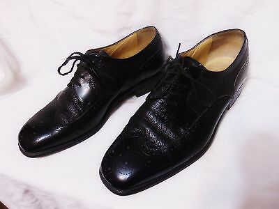STEMAR Mens Wingtip Oxford Style Shoes Sz 9 USA/UK 8 Black Made in Italy Leather