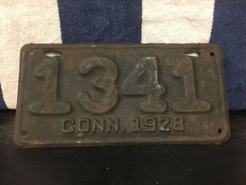 Vintage 1928 Connecticut Motorcycle License Plate