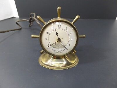 VINTAGE BRASS SHIPS WHEEL ELECTRIC ADVERTISING TABLE/DESK/MANTEL CLOCK