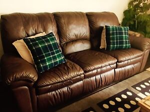 ELRAN Brown Leather Reclinable Sofas