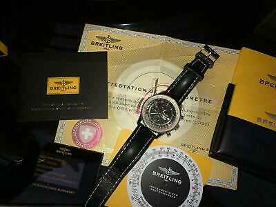 Breitling Navitimer Men's Black Watch with Leather Strap