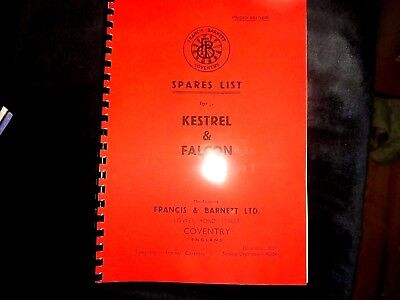 Francis Barnett Kestrel & Falcon 1954 Parts manual  3 & 4 speed FB05