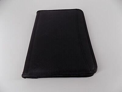 Leeds Black Faux-leather Full-zip-around Planner Organizer 13.5x10 Euc