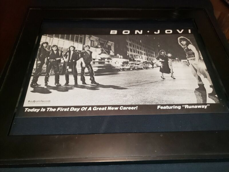 Bon Jovi Runaway Rare Original Debut Radio Promo Poster Ad Framed!