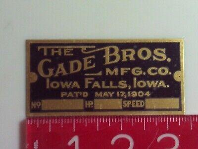 Gade Bros. Engine Name Tag Reproduction Nameplate