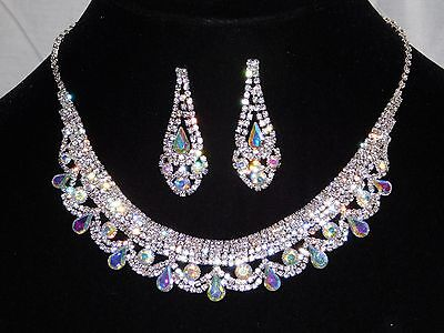 - Silver W. AB Iridescent & Clear Rhinestone Crystal Necklace and Earrings Set