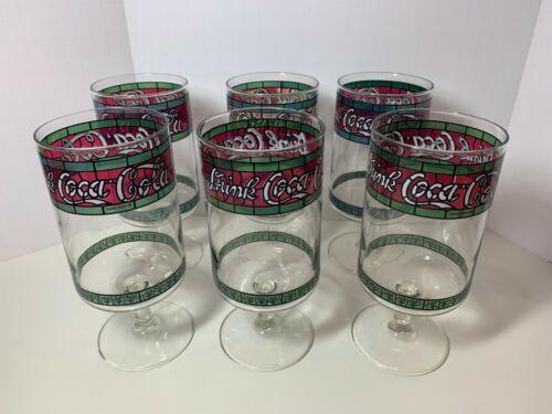 "Set 6 Vintage Stemmed ""Drink Coca Cola"" Coke Soda Glasses Tiffany Stained Glass"