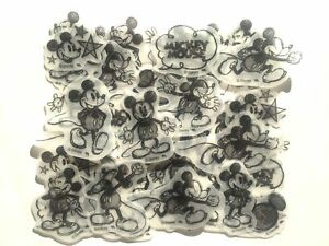 Disney Mickey Mouse Flake Sticker 40 Silhouette Drawing Sketch Scrapbook JAPAN