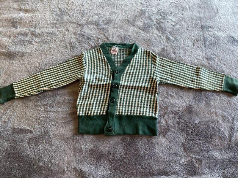 vintage 1950s Tom O Shanter Boys Children's Argyle Cardigan Sweater Sz 2 Rare!