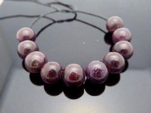 Natural Genuine Dark Red Round 8.5mm Madagascar Ruby Gemstone Beads 10 Pieces