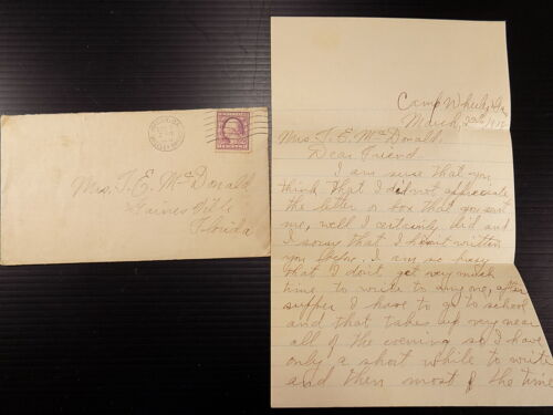 WWI Letter to Friend from Camp Wheeler Georgia CAMP WAS OVERRUN WITH MEASLES 191