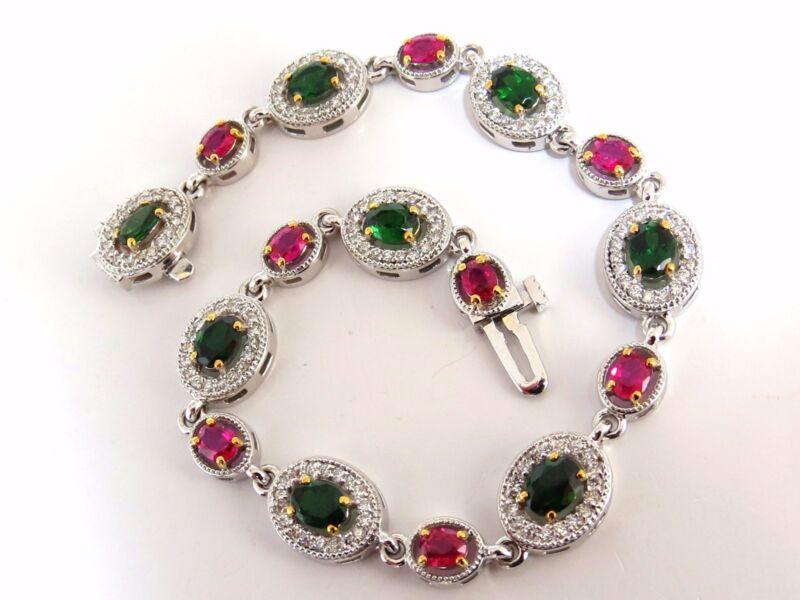5.27ct Natural Tsavorite Ruby Diamonds Cluster Link Bracelet+