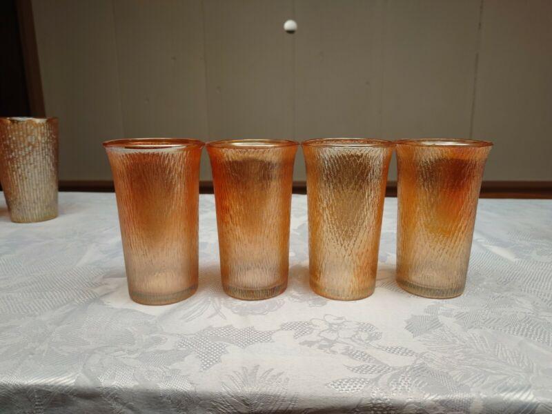 "Vintage  Glass Amber Marigold Iridescent Tree Bark 4.5"" Tumblers Set of 6"