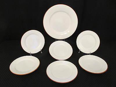"7pc Romertopf Terra Rosa Reco WHITE Glaze 8"" Salad Plates & 12"" Serving Platter"