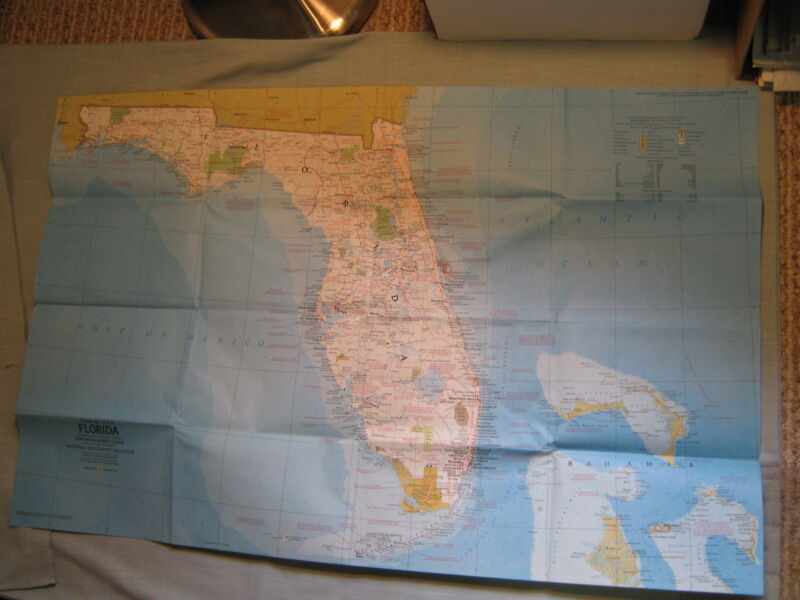 VINTAGE FLORIDA PUERTO RICO VIRGIN ISLANDS MAP National Geographic November 1973