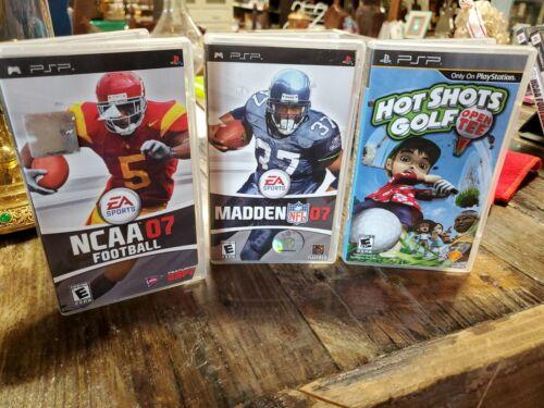 LOT Of 3 Madden NFL 07, NCAA 07 Football Hot Shots Golf, PSP Games EA SPORTS  - $10.00