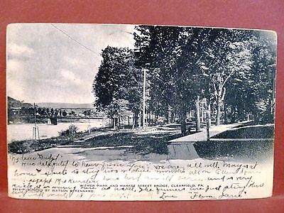 Postcard Pa Clearfield Witmer Park And Market Street Bridge  1907