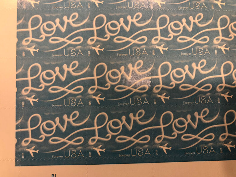 100 - USPS Love Skywriting Forever Stamps. Sheets of 20