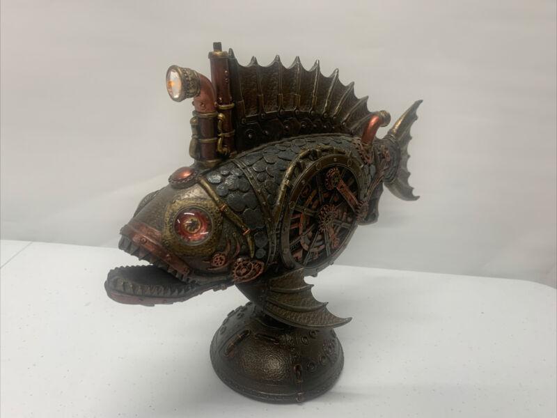SS Anglerfish Steampunk Art Submarine Statue w/LED Periscope Piranha Fish Marine