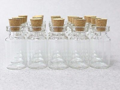 100 Clear Glass Bottles Vials 2ml Bottle with Cork 2ml-100