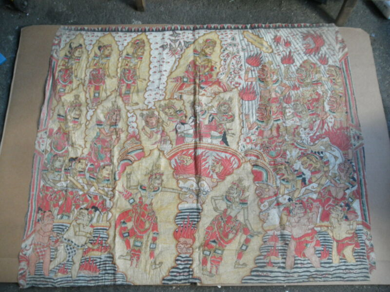 Antique Asian Indonesian Bali Fabric Tapestry Painting Annette Warren 54 x 69 ""