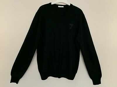 Versace Collection Jumper Size XXL Lambswool Black V Neck RRP £320 PTP 24""