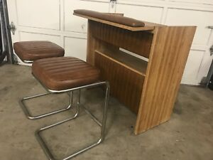Super Funky Vintage Retro Bar w/ Cantilevered Stools