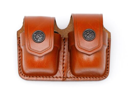 Leather Double Speed Loader Case - (# 038)