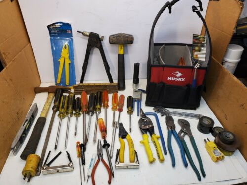 Lot Husky Open Tote W/Electrician tools, Pliers, Screwdrivers, Sledge Hammer
