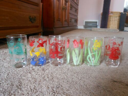 6 VTG SWANKY SWIGS JUICE GLASSES, ASSORTED DESIGNS