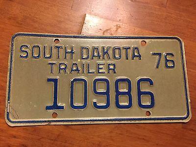 South Dakota  trailer license plate  1976
