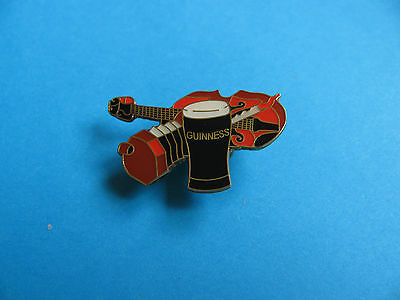 Guinness Pin Badge. VGC. Unused. Musical Instruments. ( A) Fiddle & Squeeze Box - Fiddle Pin