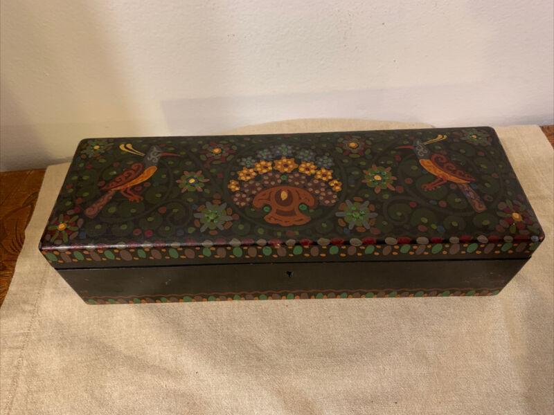 antique swiss german folk art Wood box hand painted pre WW2 Birds Flowers Stamp