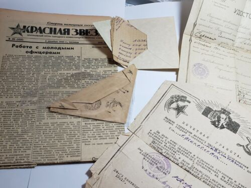 WWII Russian Soviet USSR Propaganda rare documents letter newspaper Stalin lot
