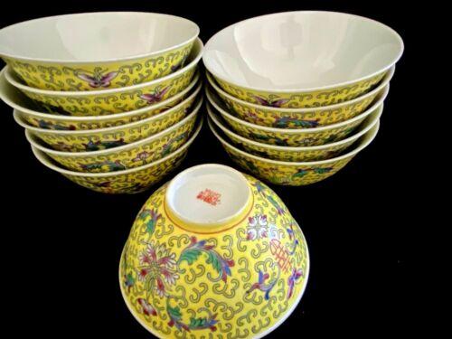 """4 Vintage Yellow Mun Shou Rice Bowl Longevity Porcelain Jingdezhen China 4.6"""""""
