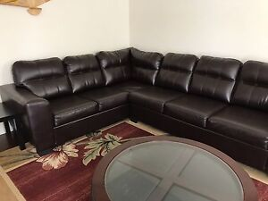 Brown bonded leather sectional couch